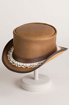 Steampunk Marlow Leather Top Hat with Garter Hatband