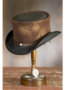 Steampunk Hatlas Leather Top Hat