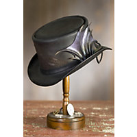Steampunk Hats | Top Hats | Bowler Steampunk Draco Leather Hat BLACK Size  XLarge 23.75quot $447.00 AT vintagedancer.com