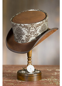 Steampunk Parlor Leather Top Hat