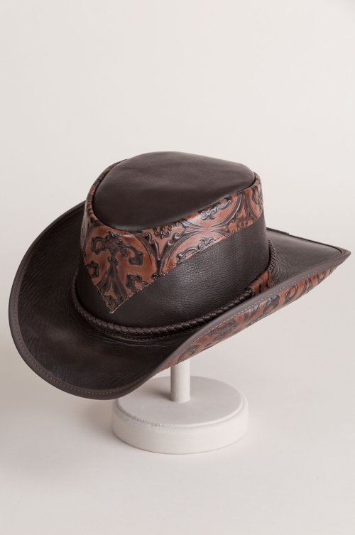 Falcon Hand-Tooled Leather Cowboy Hat