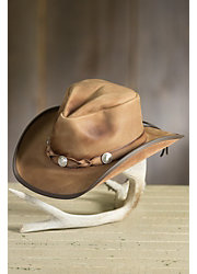Comstock Buffalo Nickel Leather Cowboy Hat