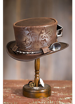 Steampunk Victorian Cocktailer Leather Top Hat