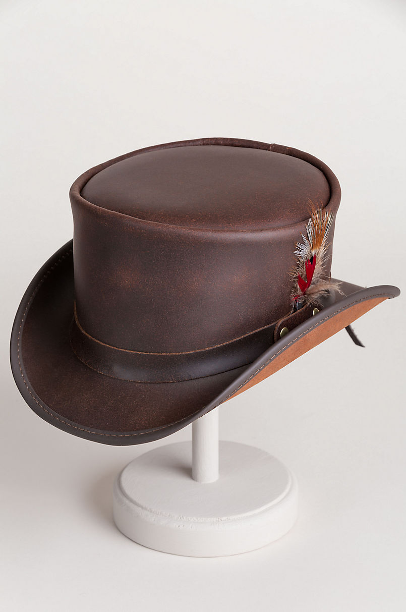 Steampunk Victorian Marlow Leather Top Hat  e4420a81d12e