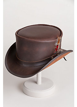 Steampunk Victorian Marlow Leather Top Hat