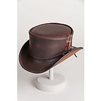 Men's Vintage Style Hats Steampunk Victorian Marlow Leather Top Hat $177.00 AT vintagedancer.com