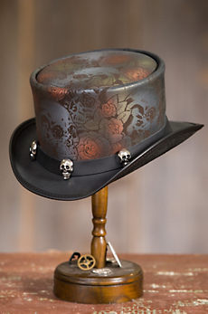 Steampunk Victorian Skull N Roses Leather Top Hat