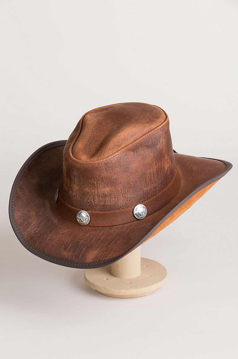 Cyclone Leather Cowboy Hat with Buffalo Nickels  64bb7f506ddf
