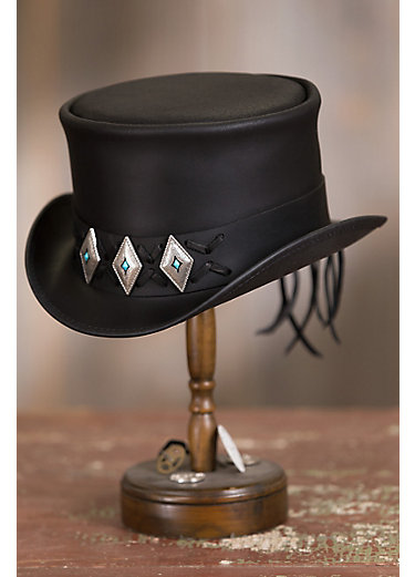 Steampunk El Dorado Leather Top Hat with Concho Band
