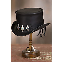 Steampunk Hats | Top Hats | Bowler Steampunk El Dorado Leather Top Hat with Concho Band BLACK Size XXLARGE 7.757.88 $217.00 AT vintagedancer.com