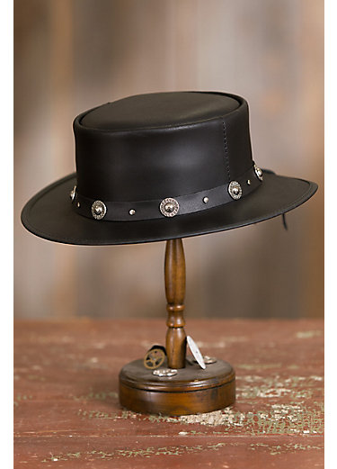 Silverado Leather Gambler Hat with Concho Band