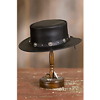 Steampunk Hats | Top Hats | Bowler Silverado Leather Gambler Hat with Concho Band BLACK Size XXLARGE 7.757.88 $177.00 AT vintagedancer.com