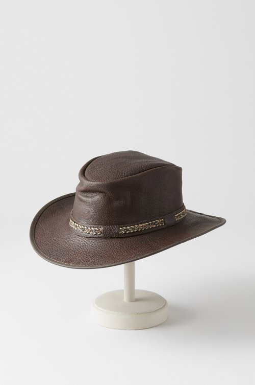 Ridgeway Crushable American Bison Leather Outback Hat