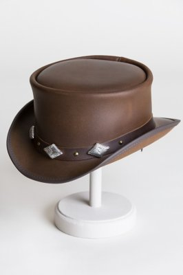 Steampunk Marlow Leather Top Hat with Silver Cross Conchos