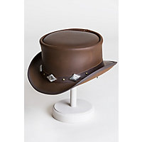 Steampunk Hats for Men | Top Hat, Bowler, Masks Steampunk Marlow Leather Top Hat with Silver Cross Conchos $187.00 AT vintagedancer.com