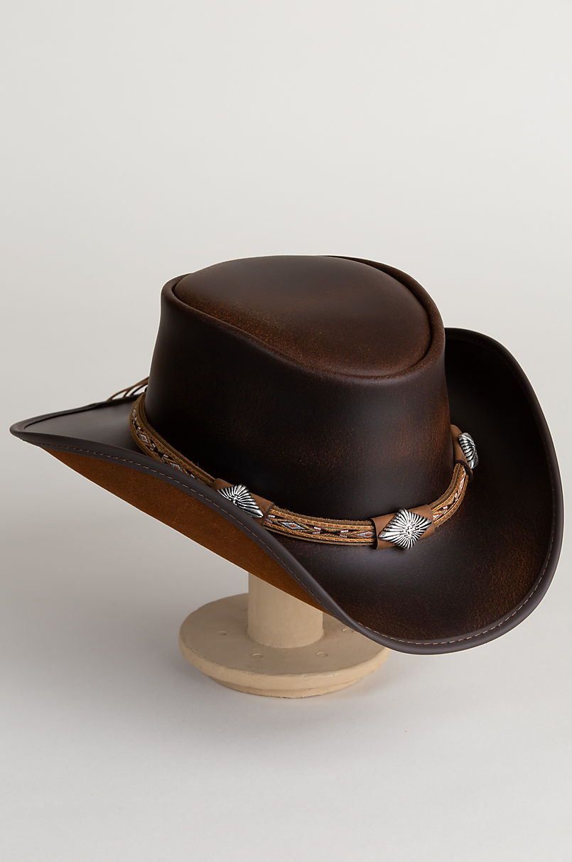 Laramie Leather Cowboy Hat with Conchos