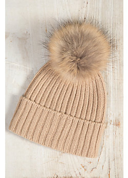 Women's Cashmere Beanie Hat with Detachable Silver Fox and Raccoon Fur Poms