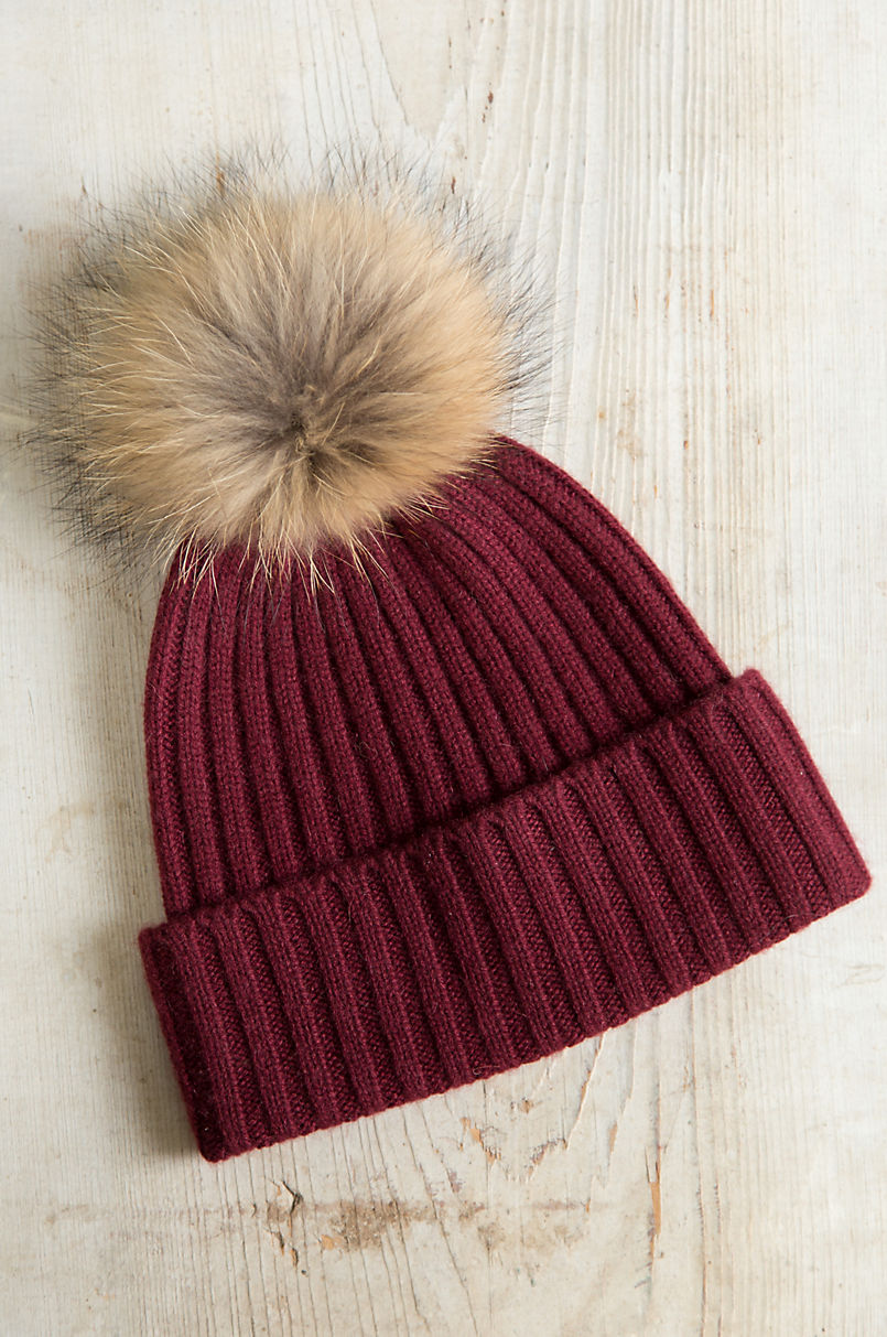 4c6f0fd3c6a Cashmere Beanie Hat with Detachable Silver Fox and Raccoon Fur Poms ...