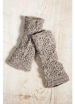 Women's Nepalese Flower Handmade Crocheted Wool Fingerless Gloves