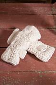 Women's Nepalese Flower Handmade Crocheted Wool Fingerless Gloves