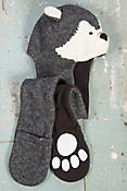 Children's Wolf Handmade Wool Hat Scarf