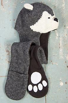 Children's Wolf Handmade Wool Beanie Hat Scarf