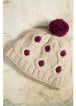 Women's Handmade Cupcake Wool Beanie with Pom