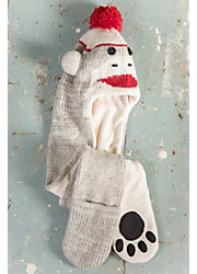 Children's Monkey Handmade Wool Beanie Hat Scarf