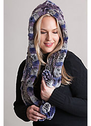Knitted Rex Rabbit Fur Infinity Hooded Scarf