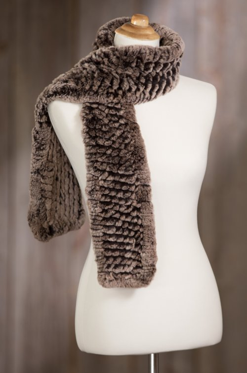 Knitted Rex Rabbit Fur Scarf