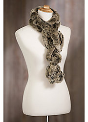 Knitted Rex Rabbit Fur Ruffle Scarf