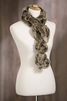 Knitted Rex Rabbit Fur Ruffle Scarf