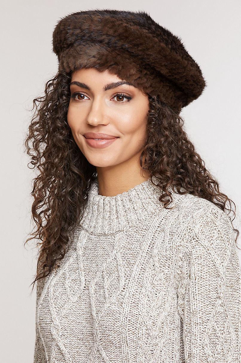 Knitted Mink Fur Beret