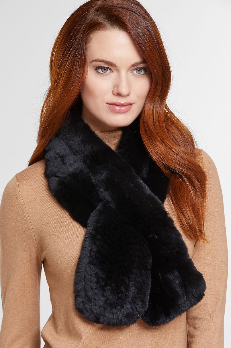 Diane Knitted Rex Rabbit Fur Scarf