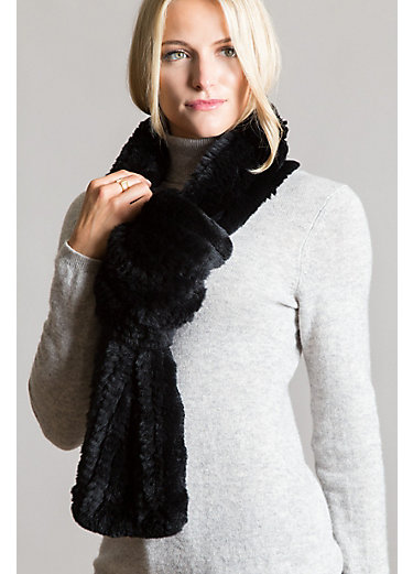 Wide-Loop Pull-Through Knitted Rex Rabbit Fur Scarf