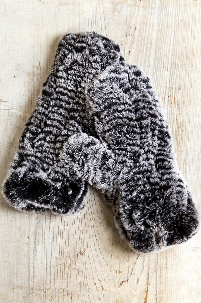 Women's Knitted Rex Rabbit Fur Mittens