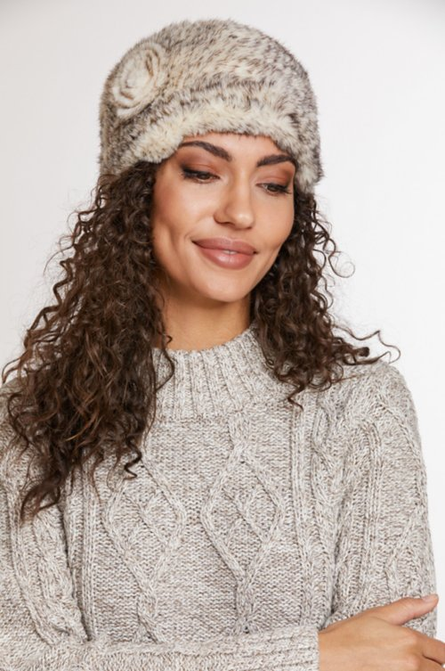 3693cfecec6ad Knitted Mink Fur Beanie Hat with Fur Flower