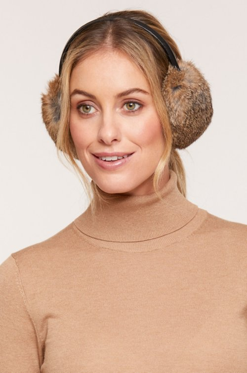 Rabbit Fur and Lambskin Leather Earmuffs