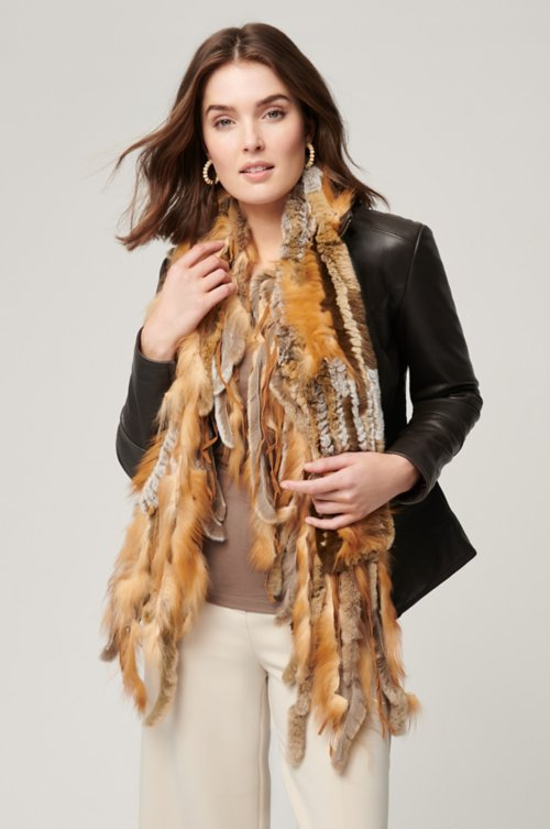 Rex Rabbit Fur Scarf with Silver Fox Fur Fringe