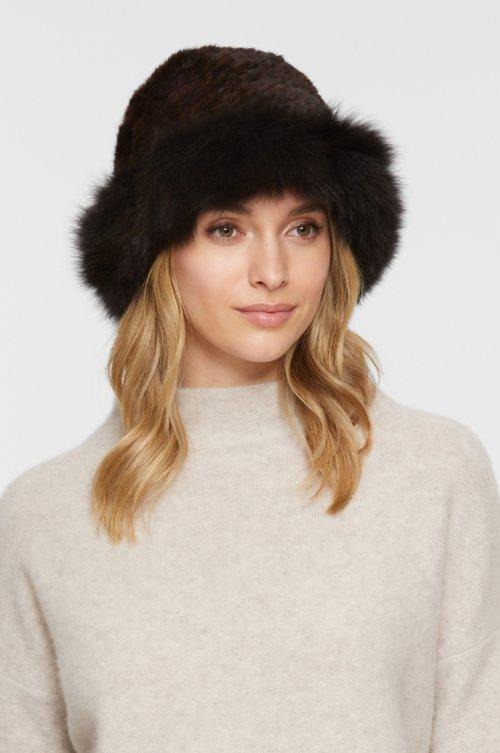 Knitted Danish Mink Fur Cloche Hat with Finnish Fox Fur Trim