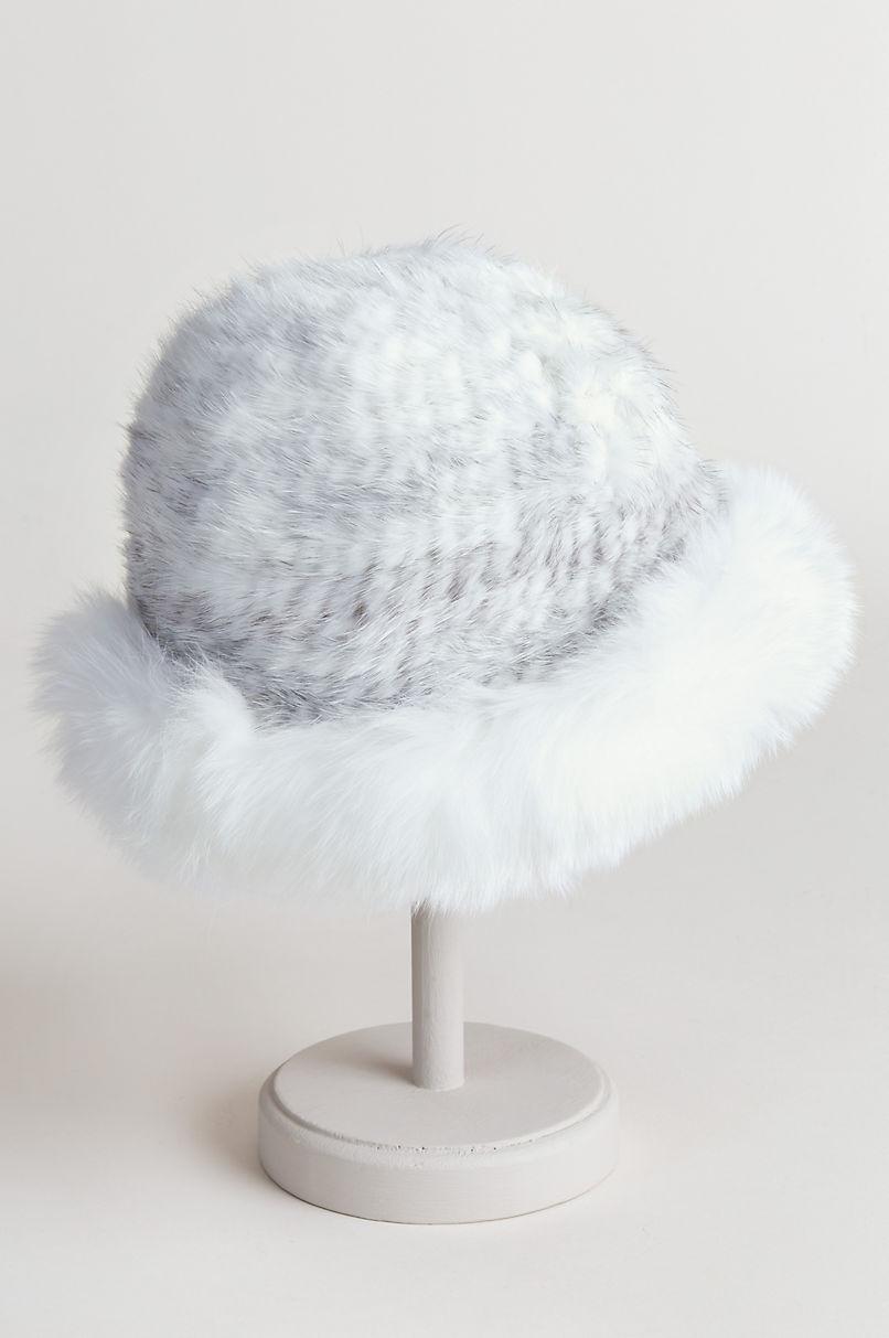 4dbd310e4c6b68 Knitted Danish Mink Fur Cloche Hat with Finnish Fox Fur Trim | Overland