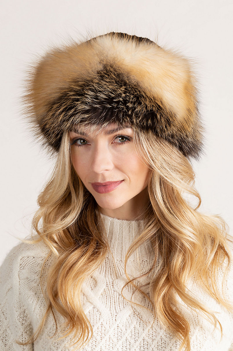 Sheared Beaver Fur Cossack Hat with Fox Fur Trim  7c0b173c499