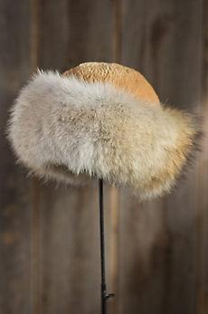 Sheared Beaver Fur Cossack Hat with Coyote Fur Trim