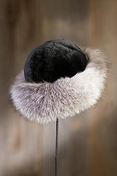 Sheared Beaver Fur Cossack Hat with Fox Fur Trim