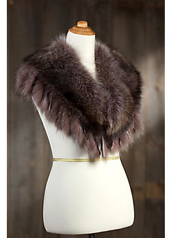 Raccoon Fur Shawl Collar with Fringe