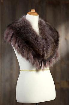 Raccoon Fur Shawl Collar with Fringe