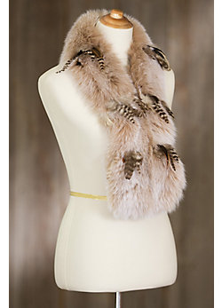 Fox Fur Scarf with Ostrich Feathers