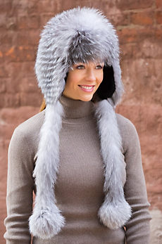Sheared Beaver and Indigo Fox Fur Trapper Hat