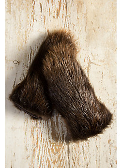 Men's Shearling-Lined Beaver Fur Gauntlet Gloves
