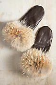 Women's Leather Mittens with Coyote Fur Trim